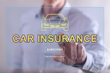Man touching a car insurance concept on a touch screen
