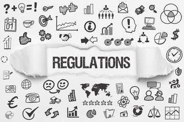 Regulations / weißes Papier mit Symbole