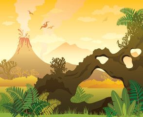 Prehistoric landscape. Arch, volcano and fern.