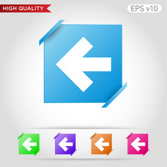 Colored icon or button of left arrow symbol with background