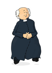 Cartoon Catholic priest on a white background. Flat vector.