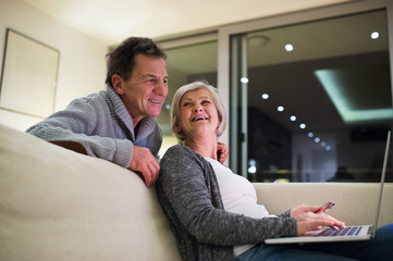 Senior couple with laptop sitting on couch shopping online