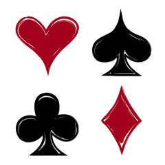 Playing card suits, icon, symbol set hand drawing