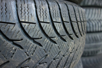 Close up view of tires in a car shop