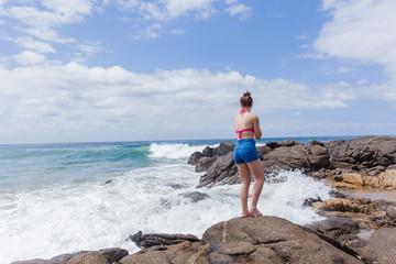 Girl Watching Ocean Waves
