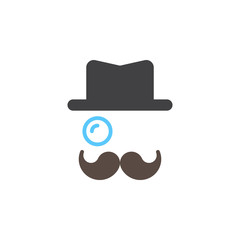 Monocle, Mustaches, Hat icon vector, solid sign, colorful pictogram isolated on white, logo illustration