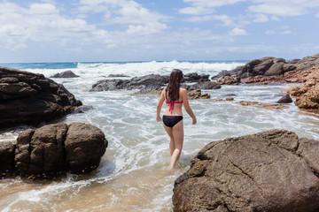 Girl Beach Ocean Swim Rock Pool