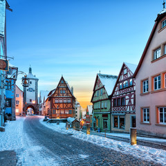 Amazing winter in old town of Rothenburg ob der Tauber, Middle Franconia, Bavaria, Germany