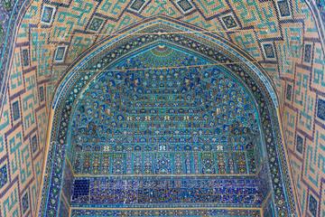 Mosaic in Ulugh Beg Madrasah in Samarkand, Uzbekistan