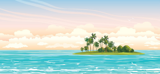 Coconat island in the sea. Vector seascape.