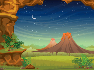 Prehistoric landscape with volcanoes at night.