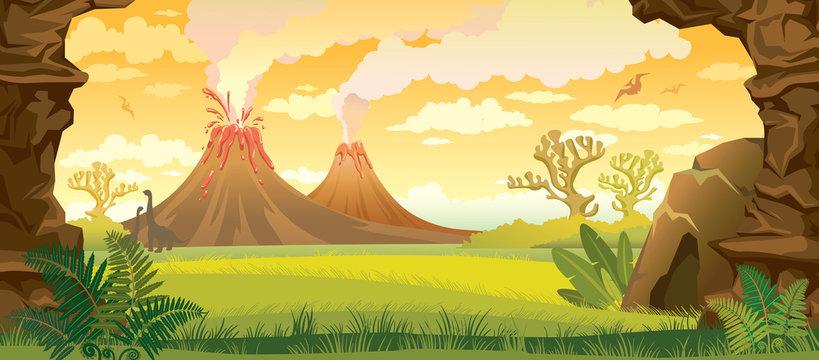 Prehistoric landscape with volcanoes.