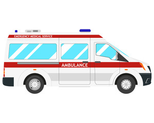 Isolated modern ambulance car on a white background. Vector illustration