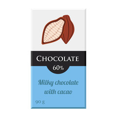 Chocolate bar. Cacao label package. Sweet milky product. Flat style