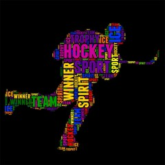 hockey Typography word cloud colorful Vector illustration