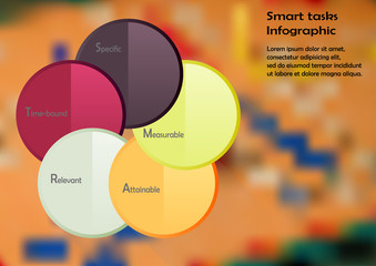 Illustration infographic template consists of five color rings with SMART tasks