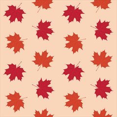 orange red maple leaves autumn pattern seamless vector