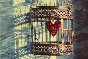 Heart inside the bird cage. Vintage background. Love/romance concept. Wall mural