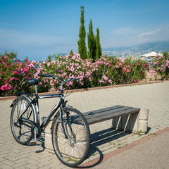 Bike on the background of the sea coast