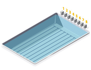 Swimming pool isometric on white background. With numbers starting positions of the starting blocks.Illustration for sport article. Pictogram element 3d set. Flatten isolated master vector.