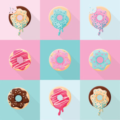 Set of  different sweet cute and bright donuts icons isolated on pink anad blue background. Flat design dessert