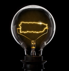 Lightbulb with a glowing wire in the shape of Puerto Rico (series)
