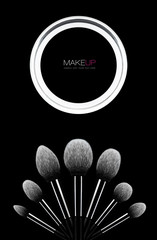 Makeup brushes kit dark concept