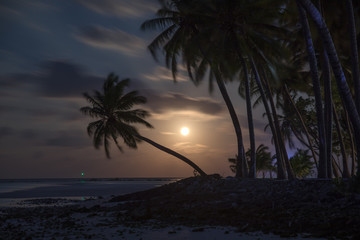 Amazing supermoon on Maldivian island
