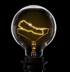 Lightbulb with a glowing wire in the shape of Nepal (series)