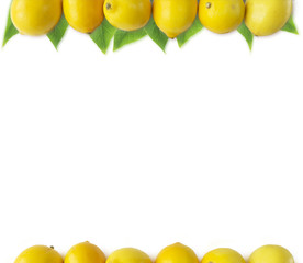 Lemons at border of image with copy space for text. Top view. Ripe lemons with leaves close-up on a white background. Background citrus.