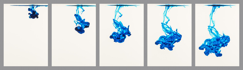 Sequence of blue ink flowing through water