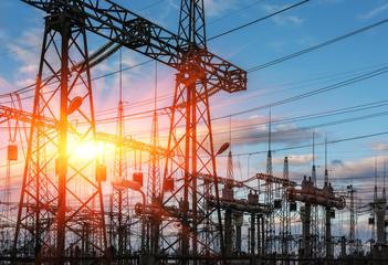 electricity distribution station at sunset.