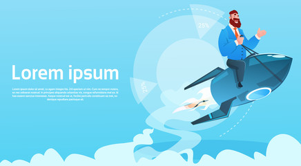 Business Man On Space Ship Project Successful Startup Flying Rocket Flat Vector Illustration