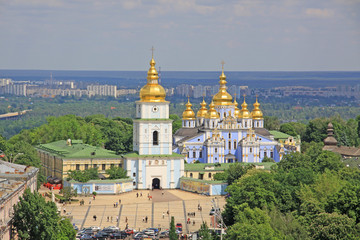 Photo Stands Kiev Ukraine. Kiev. St. Michael's Golden-Domed Monastery