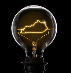 Lightbulb with a glowing wire in the shape of Kentucky (series)