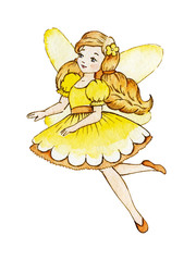 Little Cute Magic Fairy. Cute Girl in Light Dress. Watercolor illustration. Kids clipart