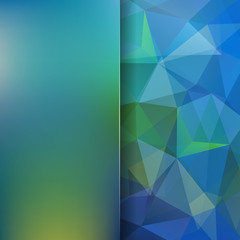 Background made of triangles. Square composition with geometric shapes and blur element. Eps 10 Green, blue colors