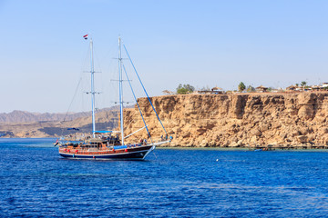 Pleasure yacht near the coast of Sharm El Sheikh