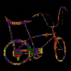 bicycle Typography word cloud colorful Vector illustration