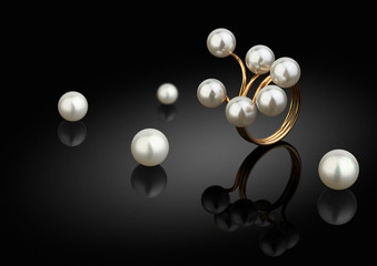 jewelry piece, ring with pearls on black background