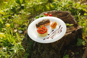 Rice with salmon on a white plate