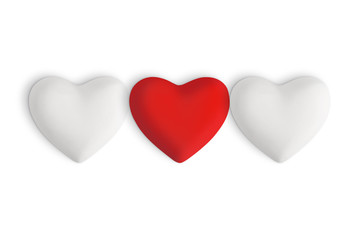 White love hearts with a ed heart in the centre on a white background