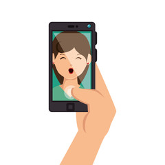 selfie photography technology icon vector illustration design