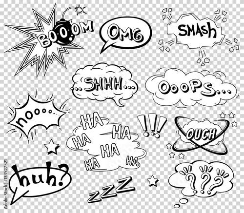 Comic speech bubbles set, wording sound effect design for