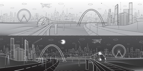 Architectural and infrastructure panorama, transport overpass, highway. Train rides on bridge. Business center, city, towers and skyscrapers, urban scene, black and white version, vector design art
