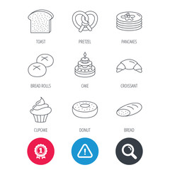 Achievement and search magnifier signs. Croissant, pretzel and bread icons. Cupcake, cake and sweet donut linear signs. Pancakes, toast and bread rolls flat line icons. Hazard attention icon. Vector