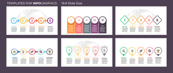 Business infographics. Presentation templates with 5 steps, options. Wall mural