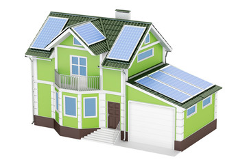 House with solar panels, 3D rendering