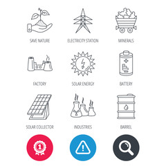 Achievement and search magnifier signs. Solar collector energy, battery and oil barrel icons. Minerals, electricity station and factory linear signs. Industries, save nature icons. Vector