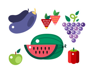 Set of colorful cartoon fruit icons vector illustration.
